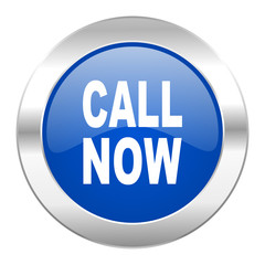 call now blue circle chrome web icon isolated