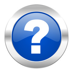 question mark blue circle chrome web icon isolated