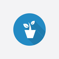 houseplant Flat Blue Simple Icon with long shadow.