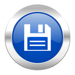 disk blue circle chrome web icon isolated