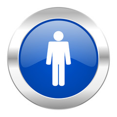 male blue circle chrome web icon isolated