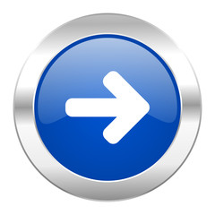 right arrow blue circle chrome web icon isolated