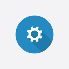 settings Flat Blue Simple Icon with long shadow.