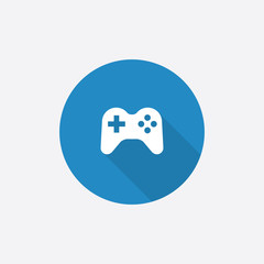 joystick Flat Blue Simple Icon with long shadow.
