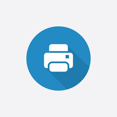 printer Flat Blue Simple Icon with long shadow.