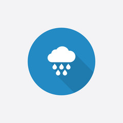 cloud rain Flat Blue Simple Icon with long shadow.
