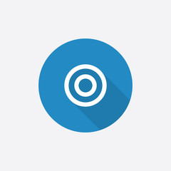 target Flat Blue Simple Icon with long shadow.