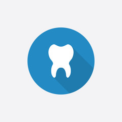 tooth Flat Blue Simple Icon with long shadow.