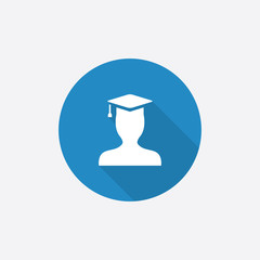 graduate student Flat Blue Simple Icon with long shadow.