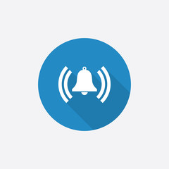 alarm bell Flat Blue Simple Icon with long shadow.