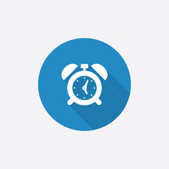 alarm clock Flat Blue Simple Icon with long shadow.