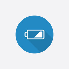 low battery Flat Blue Simple Icon with long shadow.