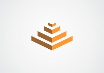 3D pyramid temple geometry vector logo