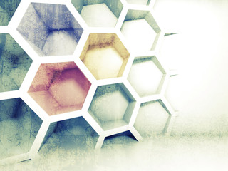 Abstract colorful 3d interior with honeycomb on the wall