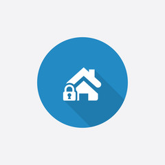 home lock Flat Blue Simple Icon with long shadow.