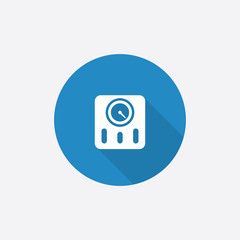 fitness scales Flat Blue Simple Icon with long shadow.