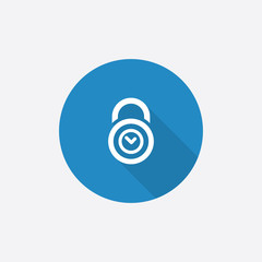 time lock Flat Blue Simple Icon with long shadow.
