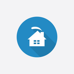 cozy home Flat Blue Simple Icon with long shadow.