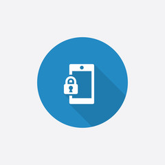 smartphone lock Flat Blue Simple Icon with long shadow.