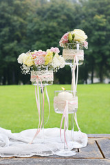 Wedding decoration with carnations and eustoma flowers