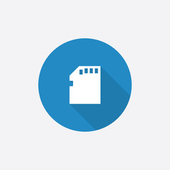 memory card Flat Blue Simple Icon with long shadow.