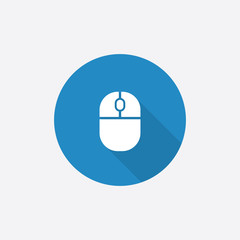 mouse Flat Blue Simple Icon with long shadow.
