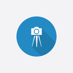 photo camera tripod Flat Blue Simple Icon with long shadow.