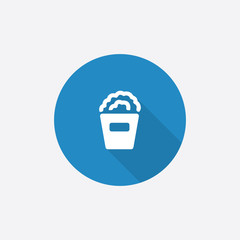 popcorn Flat Blue Simple Icon with long shadow.