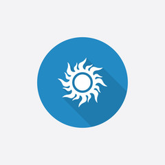 sun Flat Blue Simple Icon with long shadow.