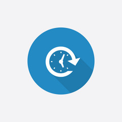 time Flat Blue Simple Icon with long shadow.