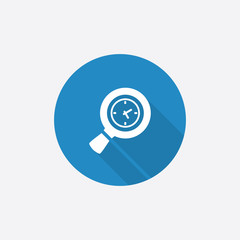 magnifier Flat Blue Simple Icon with long shadow.