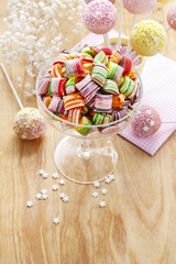 Children's party table: candies and cake pops