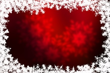 Red Christmas background with snowflakes
