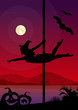Black vector figure of  pole dancer Halloween Style - 71721460