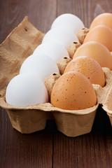 Eggs in a cardboard box