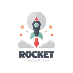Rocket - vector logo illustration. Vector logo template.