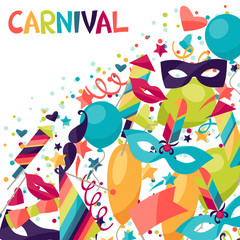 Celebration festive background with carnival icons and objects.