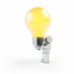 3d man holding a light bulb on white background isolated