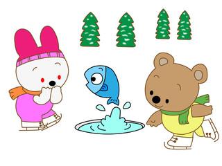 動物のアイススケート