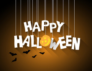 halloween background with hanging letters and shadow effect