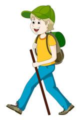 Junger Mann beim Wandern
