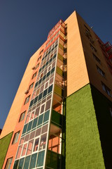 A residential building sunlit