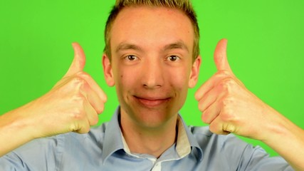 man - green screen - portrait - man agrees