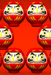 Lucky Daruma Dolls On Red Text Space