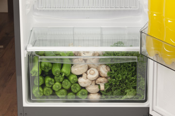 refrigerator full of healthy food. fruits, vegetables and dairy