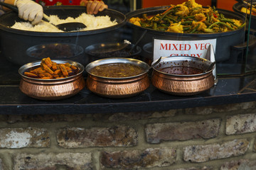 Traditional food and curry exposed in Camden Town