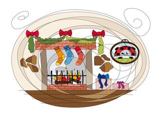 Christmas chimney drawing