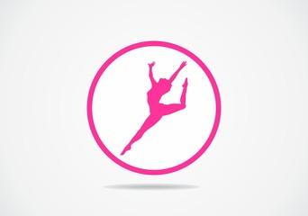 woman aerobic gymnasty fitness vector logo