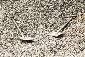 Hard stone with shovel