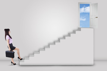 Businesswoman stepping up ladder to success door 1